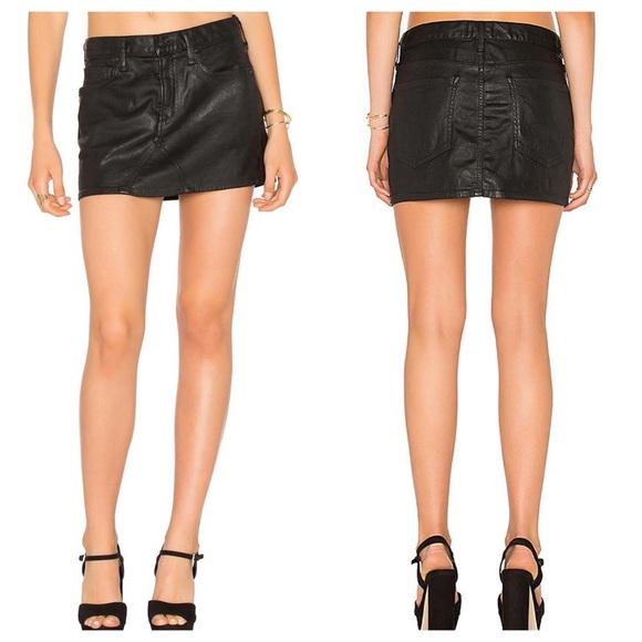 Black mini skirts size 28 Agolde Skirts Agolde Jeanette Mini Skirt Coated Black Size 28 Poshmark